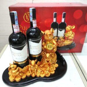Kệ rượu chuột vàng 2 chai vang chile